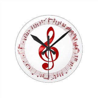 Relógio Redondo Clef de triplo vermelho em notas da música