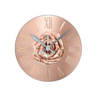 Relógio Redondo Cobre cor-de-rosa Numers romano metálico do ouro