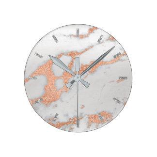 Relógio Redondo Cobre de pedra de mármore cinzento branco de