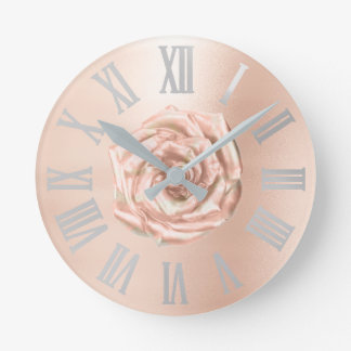 Relógio Redondo Cobre Numers romano metálico do ouro do rosa das