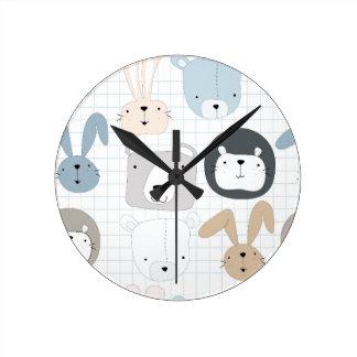 Relógio Redondo Coelho bonito da criança e do coelho do urso de