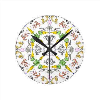 Relógio Redondo Coelhos do caleidoscópio