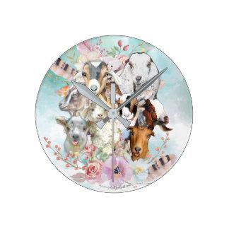 Relógio Redondo Colagem bonita | da CABRA da aguarela por