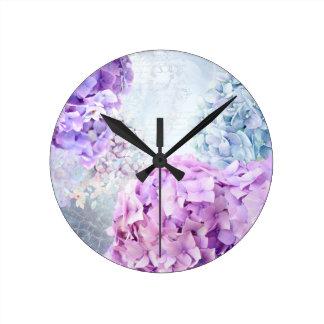 Relógio Redondo Colagem do Pastel do Hydrangea da flor do