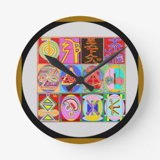 Relógio Redondo Coleção cura do símbolo de Art101 Reiki n Karuna
