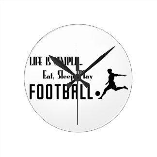 Relógio Redondo coma o futebol do jogo do sono