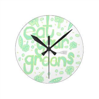 Relógio Redondo coma seus verdes