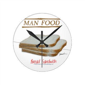 Relógio Redondo Comida do homem de Tony Fernandes - sanduíche do