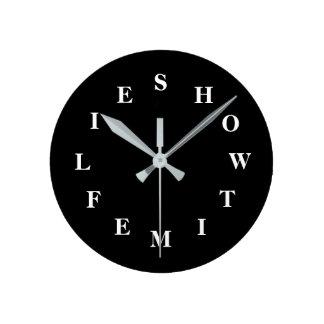Relógio Redondo Como o tempo voa o pulso de disparo de parede