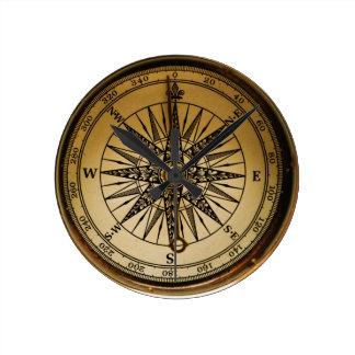Relógio Redondo Compasso de bronze velho nostálgico de Steampunk