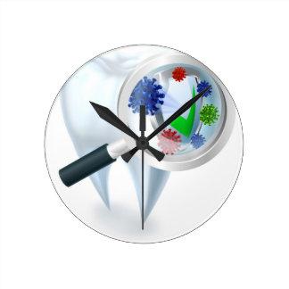Relógio Redondo Conceito das bactérias da lupa do dente