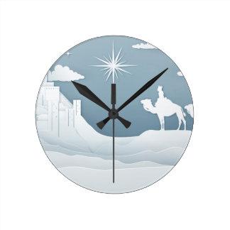 Relógio Redondo Conceito do Natal da natividade dos homens sábios