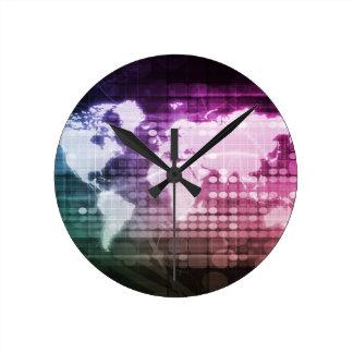 Relógio Redondo Conexão de rede global e sistema integrado
