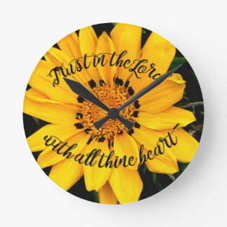 Relógio Redondo Confiança no senhor Brilhante Amarelo Flor