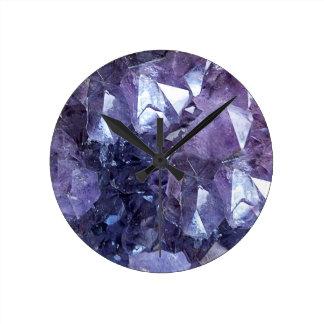 Relógio Redondo Conjunto de cristal Amethyst