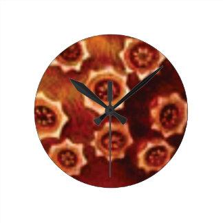 Relógio Redondo conjunto de flor vermelho
