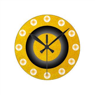 Relógio Redondo Contemporâneo dourado amarelo Glittery Sparkly do
