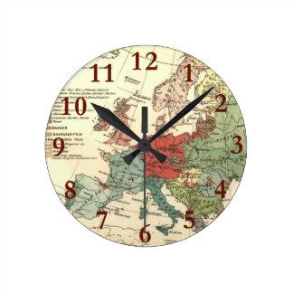 Relógio Redondo Continente europeu do mapa do vintage
