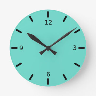 Relógio Redondo Cor cortês do azul de turquesa do Quietude