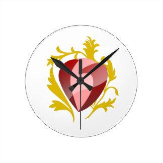 Relógio Redondo coração da morango
