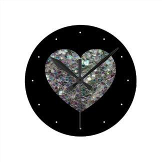 Relógio Redondo Coração de prata colorido Sparkly customizável do