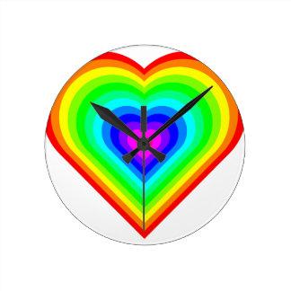 Relógio Redondo Coração do arco-íris