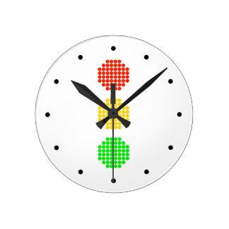 Relógio Redondo Cores do sinal de trânsito do ponto