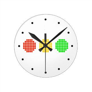 Relógio Redondo Cores horizontais do sinal de trânsito do ponto