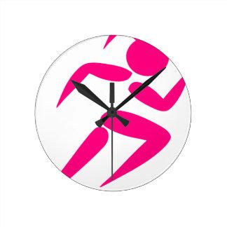 Relógio Redondo Corredor cor-de-rosa da menina