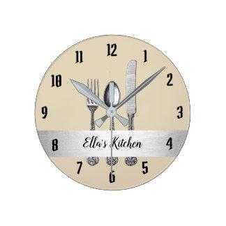 Relógio Redondo Correia da prata do utensílio da cozinha