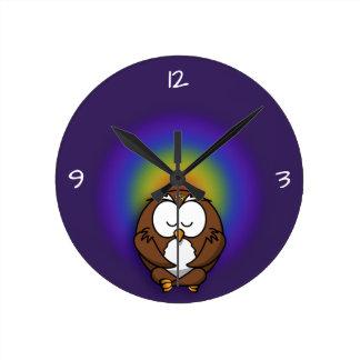 Relógio Redondo coruja da ioga