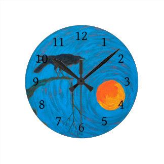 Relógio Redondo Corvo e Lua cheia