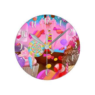 Relógio Redondo Costume do estilo do boutique dos doces da