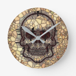 Relógio Redondo Crânio de vidro do mosaico, bege