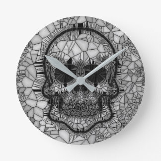 Relógio Redondo Crânio de vidro do mosaico, branco preto