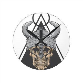 Relógio Redondo Crânio de Viking