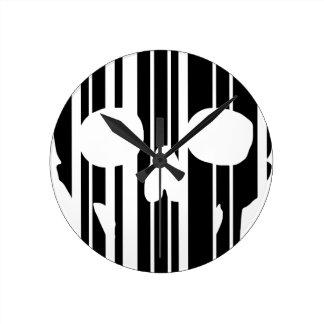 Relógio Redondo Crânio do código de barras