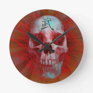 Relógio Redondo Crânio do Kanji do guerreiro