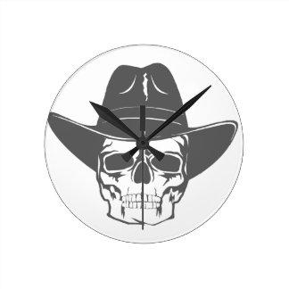 Relógio Redondo Crânio do vaqueiro com chapéu