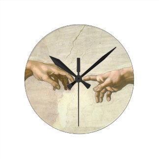 Relógio Redondo Criação das mãos de Adam - Michelangelo