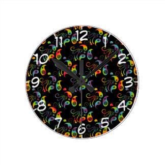 Relógio Redondo Criar seu próprio arco-íris Paisley