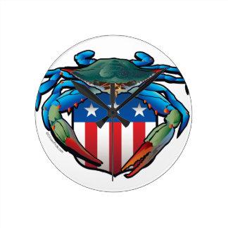 Relógio Redondo Crista dos EUA do caranguejo azul