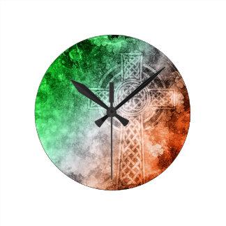 Relógio Redondo Cruz celta irlandesa
