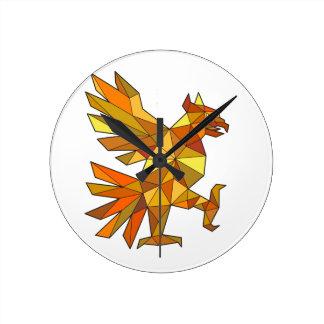 Relógio Redondo Cuauhtli Glifo Eagle que luta o baixo polígono da
