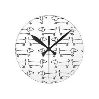 Relógio Redondo Dachshund em preto-branco
