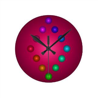 Relógio Redondo decoração colorida do contemporâneo do arco-íris