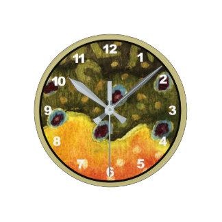 Relógio Redondo Decoração da pesca com mosca da truta de ribeiro