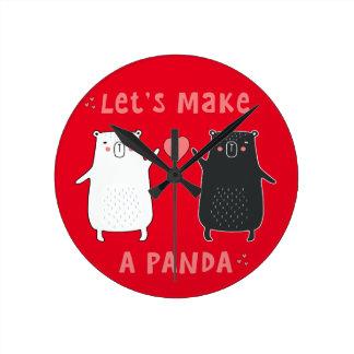 Relógio Redondo deixe-nos fazer uma panda