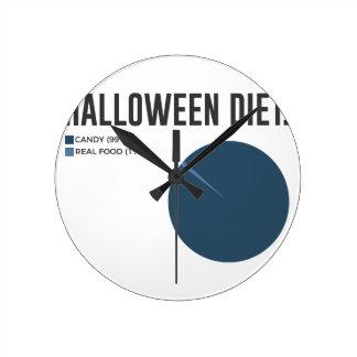 Relógio Redondo Deleites dos doces da dieta do Dia das Bruxas e