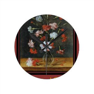 Relógio Redondo Desejos do aniversário - cravos em um vaso de